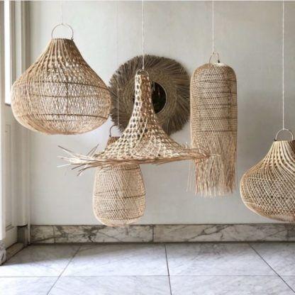 naturalne plecione lampy boho