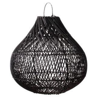 Czarna lampa wisząca Bottle L - rattan