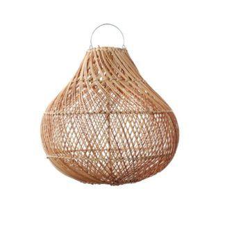 Naturalna lampa wisząca Bottle M - rattanowy klosz