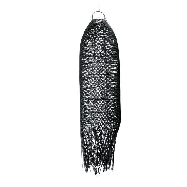 Czarna lampa wisząca Squid L - rattan, długi klosz