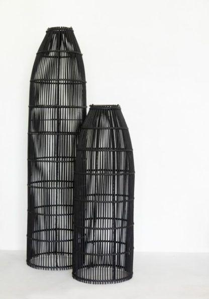 czarne lampy plecione boho