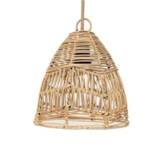 Naturalna lampa wisząca Bala S - rattanowy klosz
