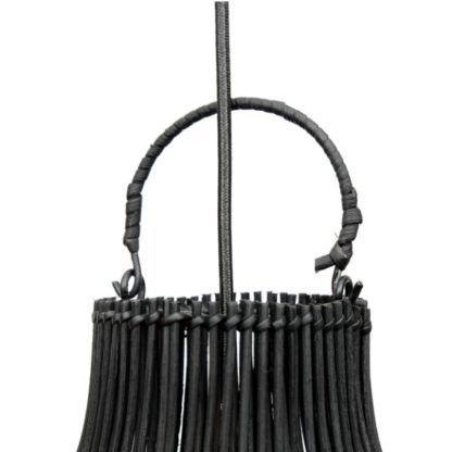 czarna lampa pleciona boho