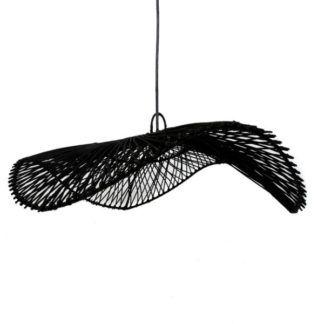 Czarna lampa wisząca Chapeau L - rattanowa