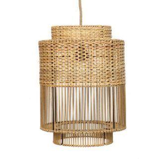 Lampa wisząca Colonial - ażurowy, rattanowy klosz