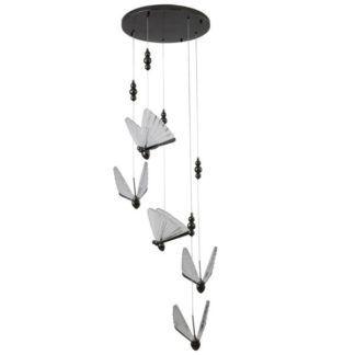 Czarna lampa wisząca Bee - 5 ledowych kloszy
