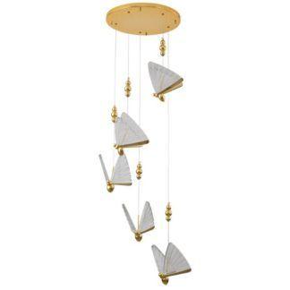 Oryginalna lampa wisząca Bee - złota, 5 kloszy