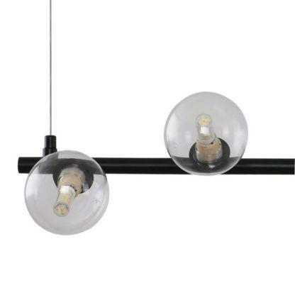 czarna lampa ze szklanymi kulami