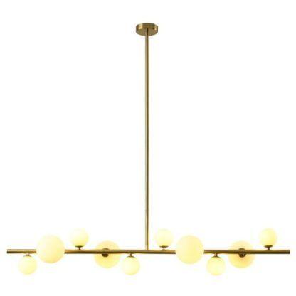 pozioma lampa wisząca złota do salonu