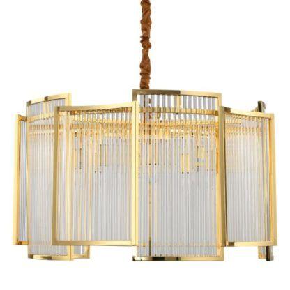 lampa wisząca ze szklanych rurek złota