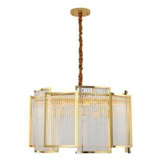 Złota lampa wisząca Imperio - kryształowy klosz