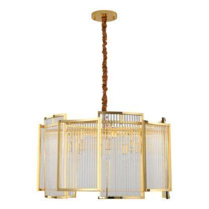 złota lampa wisząca art deco