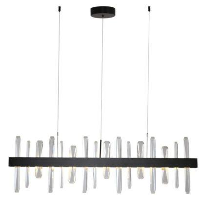 czarna lampa wisząca z kryształkami