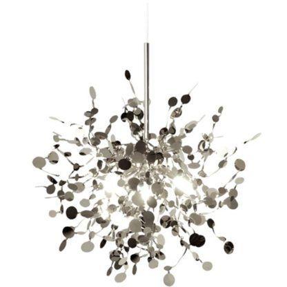 designerska lampa wisząca srebrny połysk