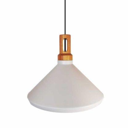 stożkowa lampa z drewnianym motywem