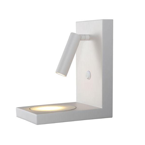 Biały kinkiet Zanzibar - reflektor LED, ładowarka indukcyjna