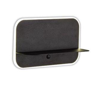 Czarny kinkiet Lanzarote - port USB, półka na telefon