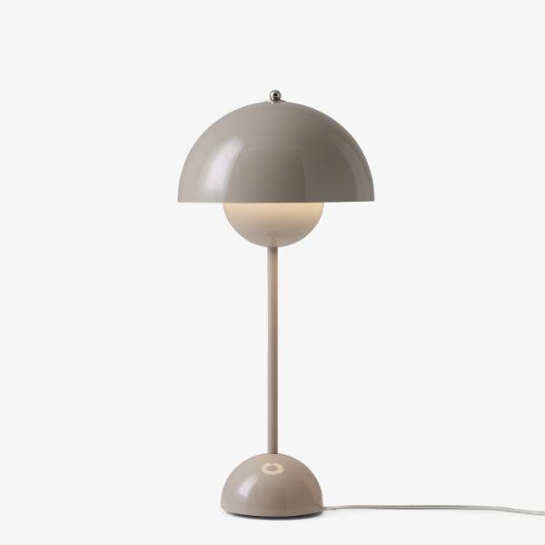 Nowoczesna lampa stołowa Flowerpot VP3 - beżowa szarość