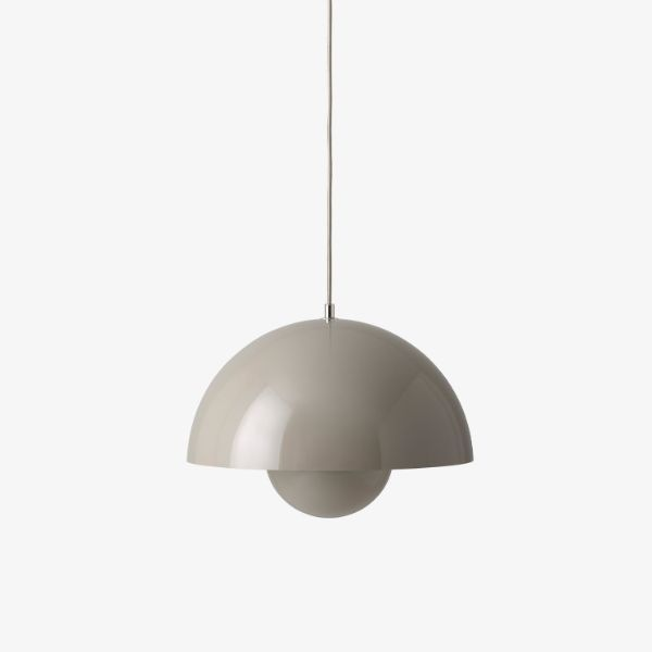 Efektowna lampa wisząca Flowerpot VP7 - 37cm, beżowa szarość