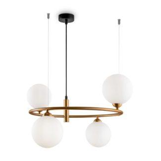 Nowoczesna lampa wisząca Ring 4 - mosiądz, szklane kule