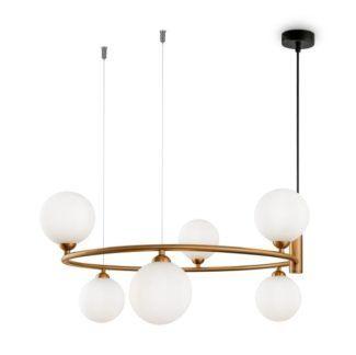 Okrągła lampa wisząca Ring 6 - mosiądz, szklane klosze