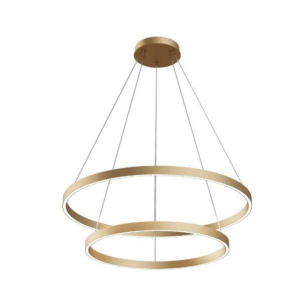 Złota lampa wisząca Rim - dwa ledowe okręgi