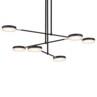 Czarny żyrandol Fad 6 - nowoczesny, LED