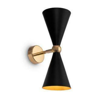 Czarny kinkiet Vesper - złota podstawa, regulowany