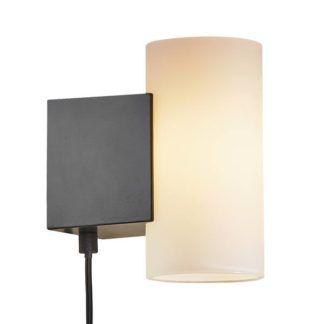 Czarny kinkiet Mona - Nordlux, szklany klosz, LED