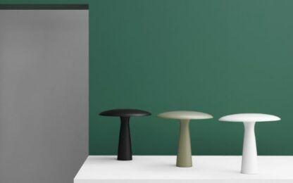 lampy stołowe grzybki na zielonej ścianie
