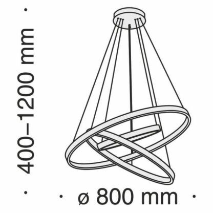 Czarna lampa wisząca Rim - ledowe ringi, 80cm
