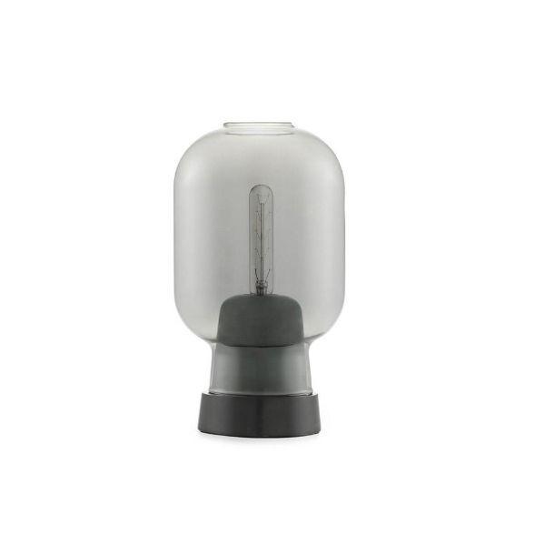 czarna lampa stołowa szklany klosz