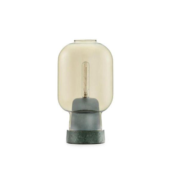marmurowa lampa z bursztynowym kloszem