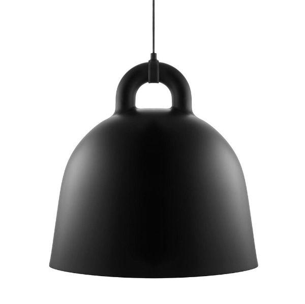 Duża lampa wisząca Bell L - czarna, minimalistyczna
