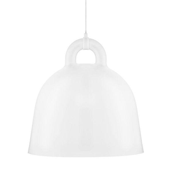 Biała lampa wisząca Bell L - duży klosz