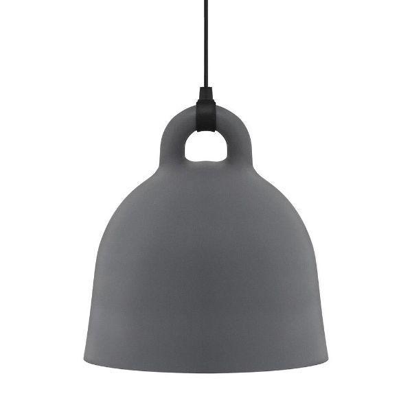 Szara lampa wisząca Bell L - długie zawieszenie