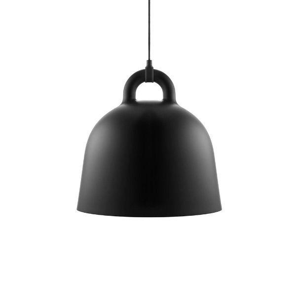 Czarna lampa wisząca Bell M - długie zawieszenie