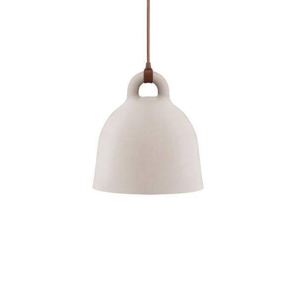Lampa wisząca Bell S - kremowa, brązowy przewód