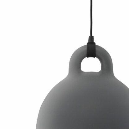 Lampa wisząca Ball S - szara, czarny przewód
