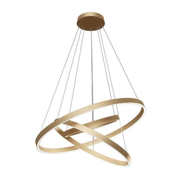 Lampa wisząca Rim - złote ringi, LED