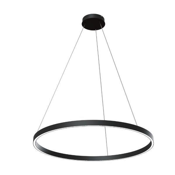 Czarna lampa wiszaca Rim - duży ring, 80cm