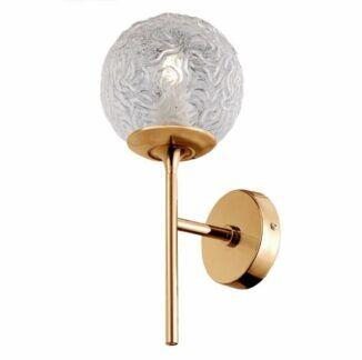 Złoty kinkiet Ligero - szklany klosz