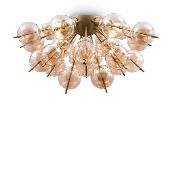 Lampa sufitowa Bolla - pozłacane, szklane klosze