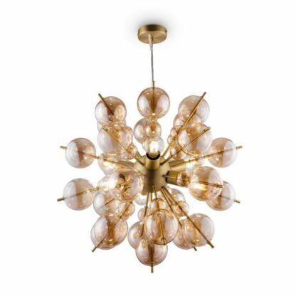 Duża lampa wisząca Bolla - szklane klosze, złota