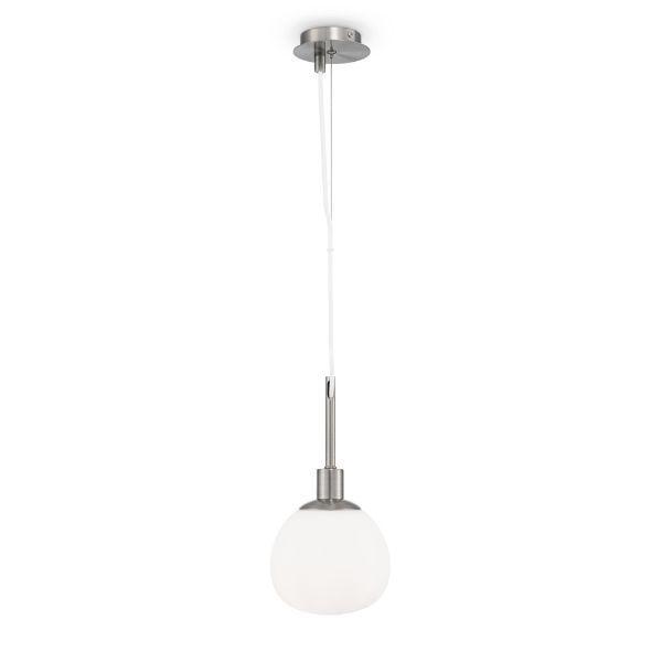 srebrna lampa wisząca z małym, szklanym kloszem