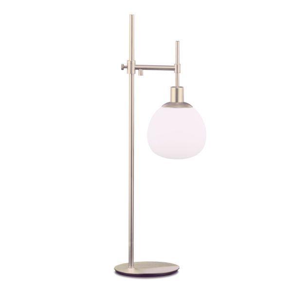 Lampa stołowa Erich - srebrna ze szklanym kloszem