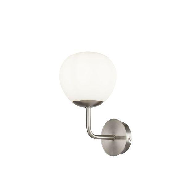 Srebrny kinkiet Erich - szklany klosz