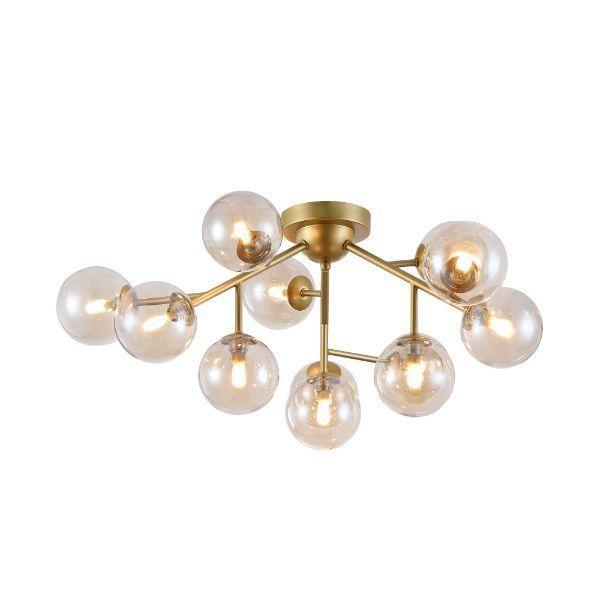 Lampa sufitowa Dallas - złota, 12 kloszy