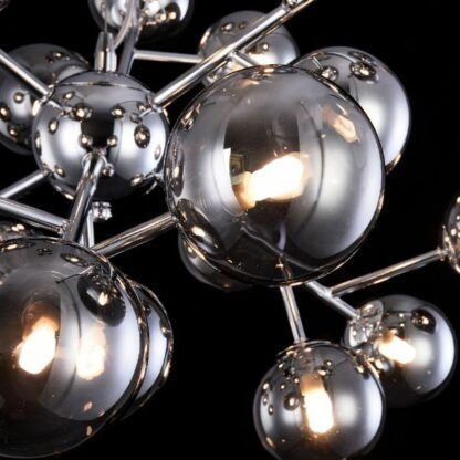 Srebrny żyrandol Dallas - szklane klosze, nowoczesny