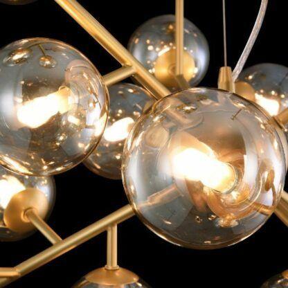 Nowoczesna lampa wisząca Dallas - złota, bursztynowe klosze